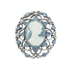 Victorian  brooch pin - Light Sapphire Blue Cameo Brooch $24.00 AT vintagedancer.com