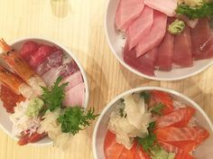 Sashimi Bowls  #sashimi #japan #tsukijifishmarket #shinjuku #fish #fishmarket #rice #wasabi #shrimp #raw #fresh #food😍😍 #ginger #tokyo #foodporn