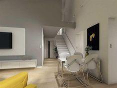 Projekt domu Maja II 108,43 m2 - koszt budowy 187 tys. zł - EXTRADOM Modern Bungalow House, Simple House, House Design, Interior Design, Furniture, Home Decor, Two Story Houses, Prefab Houses, Projects
