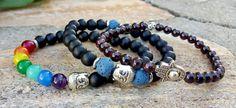 6 mm Garnet Gemstone Men's Hamsa Hand Bracelet, Protection, Meditation, Spiritual Energy, Fatima Hand, Hamsa Jewelry, Luck, Money, Love by Braceletshomme