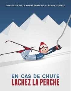 The recommendation of the ski lifts: in case of fall, let go of the pole! Ski Vintage, Vintage Ski Posters, Look Vintage, Vintage Images, Illustrations, Graphic Illustration, Ski Lift, Retro, Oahu