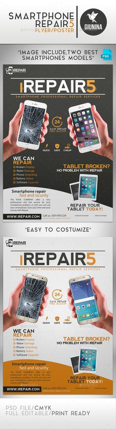 Smartphone Repair 5 Flyer/Poster — Photoshop PSD #broken #pad • Available here → https://graphicriver.net/item/smartphone-repair-5-flyerposter/16409946?ref=pxcr