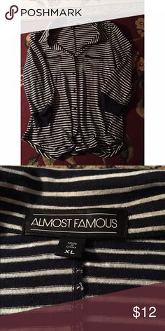 Stripped shirt Three quarter length stripped shirt. Has been worn. Still in good condition. Size XL. Almost Famous Tops Tees - Long Sleeve