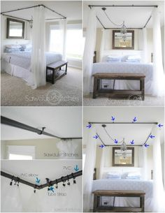 DIY Baldachin Bett Attractive Diy Canopy Bed With Sleep In Absolute Luxury With This Gorgeous Diy Bed Canopy Diy Canopy, Diy Curtains, Bed Canopies, Bedroom Curtains, Curtains Around Bed, Canopy Bed With Curtains, Faux Canopy Bed, Hanging Bed Canopy, Bed Canopy With Lights