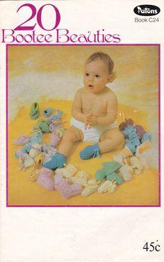 20 Bootee Beauties  Knitting Crochet  Pattern by jennylouvintage