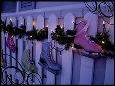 painted skates outside my home in the winter