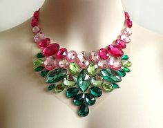 bib necklace  pink and green