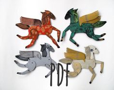 Four Winged Mini Horses / instant download PDF  / Hinged Beasts Series