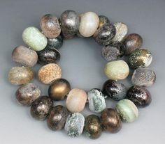 "SJC Lampwork 31 Antiqued Weathered Sea Glass 1/16"" hole donut beads ~SRA~ USA~ #SJCLampwork #AntiquedWeatheredSeaGlass"