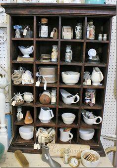 vintage goodies in old cubby shelf