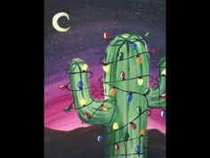 How To Paint A Christmas Tree Cactus - Tracie's Acrylic Canvas Tutorials