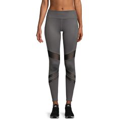 X by Gottex Women's CURVED POWER MESH LEGGING - Grey, Size M ($35) ❤ liked on Polyvore featuring pants, leggings, grey, mesh leggings, mesh panel leggings, elasticated waist trousers, elastic waistband pants and gray leggings