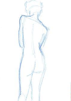 Drawing by Ödön Kunyi, Harleena 1 min, crayon on white paper, 2015