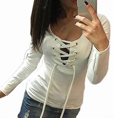 Back To Search Resultswomen's Clothing Sexy Womens Lady Clothing Blouse Shirts Long Sleeve Bandage Button V Neck Slim Brief Tee Ladies Top Blouse New Spring Summer