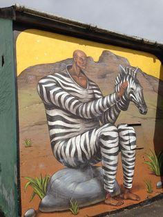 Zebra man: Wall art in Woodstock Cape Town, South Africa Stefan Sagmeister, Street Wall Art, Banksy, Woodstock, Cape Town, Urban Art, South Africa, Graffiti, Creative