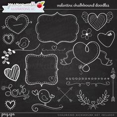 Valentine Chalkboard Doodles