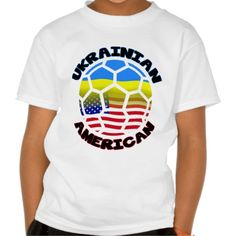Ukrainian American #Soccer T-Shirt. To see a wide range of #genealogy and ancestry products, featuring many nations, please take a look in my store: www.zazzle.com/celticana*/