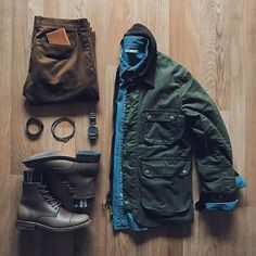 Outfit grid - Military green & boots