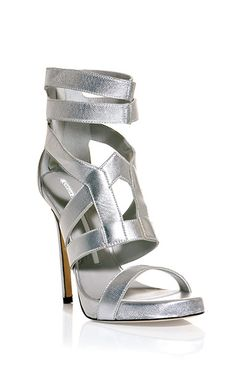 Bar ankle strap sandals stunning silver shoes from Heeled Boots, Shoe Boots, Shoes Heels, Pumps, Silver Sandals, Silver Shoes, Peep Toe, Metallic Sandals, Killer Heels