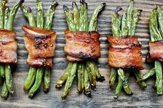 Bacon wrapped green beans-marinate the green beans in french dressing first!