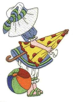 Sunbonnet Sue Months of the Year - August Más Rag Quilt Patterns, Applique Patterns, Applique Designs, Quilting Designs, Sewing Machine Embroidery, Free Machine Embroidery Designs, Embroidery Applique, Embroidery Stitches, Sue Sunbonnet