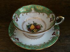 Vintage English Colorful Green China Tea Cup with by EnglishShop, $49.00