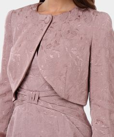 Luisa Spagnoli Bolero in misto cotone damascato simbi rosa antico Blazer  Shirt 666b87896ad