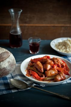 spetsofai-sausages, peppers and onions. Greek food is comfort food of the best kind.