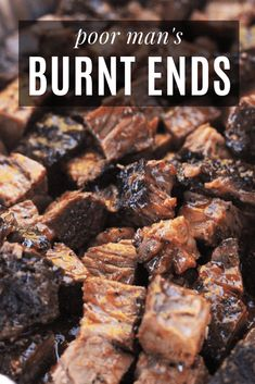 My Poor Man's Burnt Ends recipe is a great way to get all of the classic BBQ flavors you love in burnt ends without having to smoke a whole brisket. By using a chuck roast instead of brisket, these Poor Man's Burnt Ends save you some pocket change as well Traeger Recipes, Smoked Meat Recipes, Grilling Recipes, Beef Recipes, Smoked Beef, Smoked Chuck Roast, Bbq Beef Tips Recipe, Smoked Roast Recipe, Recipes