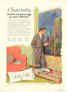 Sheraton ad that speaks to the 1950s business traveler