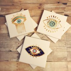 Evil eye coaster set third eye coasters gold evil eye by Ajobebe