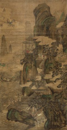 LANDSCAPE & CHARACTERS by Qiu Ying - Ming Dynasty (1368-1644)