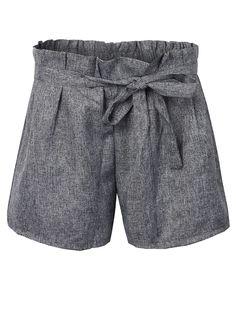 Sale 16% (11.62$) - Bow Casual Solid Color Elastic Mid Waist Wide Leg Women Short Trousers Pants