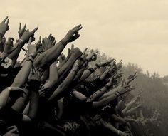 Hands at a rock concert.