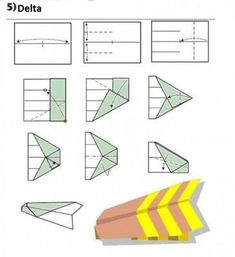 12 Ways To Fold A Paper Plane. How many ways to fold a paper plane have you known? There must be many ways of how to to fold a plane that new to you, please check out below. 3d Origami, Origami Paper, Diy Paper, Paper Art, Paper Crafts, Origami Models, Modular Origami, Paper Airplane Models, Make A Paper Airplane