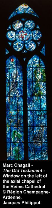 Stained glass windows in axial chapel of Notre Dame de Reims • Marc Chagall