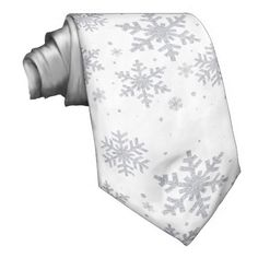 Fantastic idea for groom and best man at a Christmas wedding - Silvery Snowflakes Winter Wedding Neck Tie