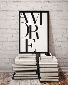 Black and white typographic art print reading Amore - The Italian word for Love. Awww go on you know you love it :) Sizes available in this