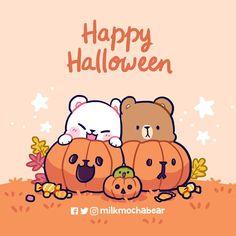 Bear Halloween, Happy Halloween, Bear Wallpaper, Cartoon Wallpaper, Helloween Wallpaper, Cute Baby Couple, You Are My Moon, Cute Couple Comics, Cute Bear Drawings