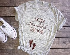 Extra Thankful | Unisex t-shirt, pregnancy reveal, pregnancy announcement, new mommy, mom shirt, pregnant shirt, maternity shirt, thanksgiving shirt, thankful, blessed shirt, bun in the oven, pregnancy announcement ideas, happy thanksgiving, holiday shirt, does this shirt make me look pregnant, mommy to be, expecting mom, expectant mother