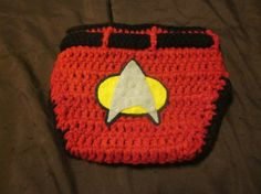 Newborn Photography Prop Crocheted Star Trek Next Generation Red Diaper Cover