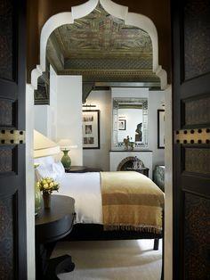 Chic and Masculine Bedroom, @ La Mamounia Hotel, Marrakech, Morroco, renovation by architect Jacques Garcia.