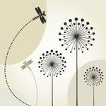 Clipart Vector of Dragonfly on a flower - The dragonfly flies over a flower A... csp9623945 - Search Clip Art, Illustration, Drawings and Ve...