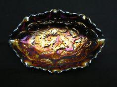 Vintage Fenton Iridescent Carnival Glass Candy Dish