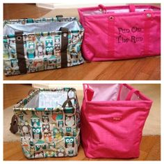 Thirty-One medium vs large utility tote. My favorite totes! I grab my medium tote all the time! The medium totes are on special in November! Thirty One Uses, Thirty One Fall, Thirty One Gifts, Thirty One Organization, Organizing, Thirty One Business, Large Utility Tote, Thirty One Consultant, 31 Gifts