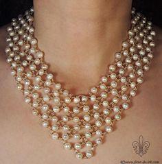 Festive pearl collar N252 Free international by FleurDeIrk on Etsy, $200.00