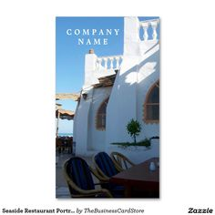 Shop customizable Restaurant business cards and choose your favorite template from thousands of available designs! Seaside Restaurant, Company Names, Business Cards, Drink, Portrait, Store, Food, Design, Business Names