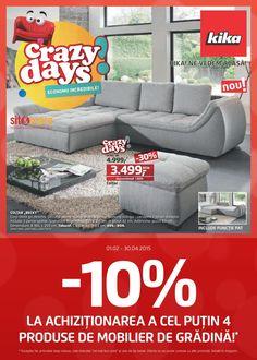 """Catalog Kika Oferta """"Crazy Days!"""" valabila in perioada 01 Februarie - 30 Aprilie 2015! -10% la achizitionarea a cel putin 4 produse de mobilier de gradina."""