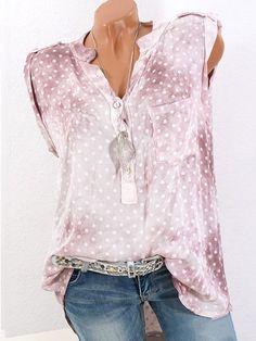 Polka Dots V-neck Sleeveless Blouses For Women