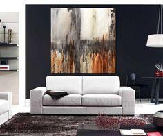 Original Abstract Painting Large Modern Art 48 x 48 Brown modern abstract oil painting Ready to hang by Sky Whitman FREE SHIPPING
